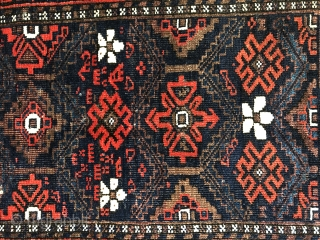 Nice antique Baluch ca 1880 all wool and natural dyes original goat hair selvedges and kelim ends good condition 