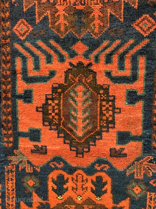 Superb antique Baluch carpet 3 rd qtr 19 c. Made in two halves a truly tribal piece  Published in Sorgato Baluch rugs 2007  excellent condition great wool and natural dyes size  ...
