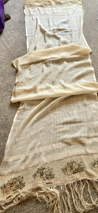 Antique Turkish ottoman towel ca 1870 size 195 x 50 cm Finely embroidered floral sprigs in silk and metal thread  Linen centre has silk edges and applied silk tasked to the ends. Small rip  ...