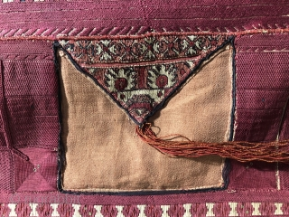 """Absolutely outstanding  antique qibleh textile from the Balkan's  Utilising Serbian and Bulgarian costume fragments of very high quality  Including the little """"pockets"""" around the sides. Condition is excellent and the quality  ..."""