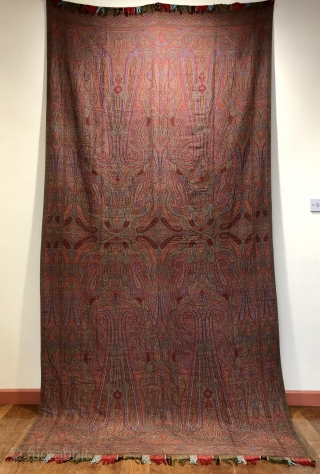"""Antique French jacquard loom woven """"Paisley """" shawl  19 c.  Unusually this one is in mint condition size 315 x 150 cm"""