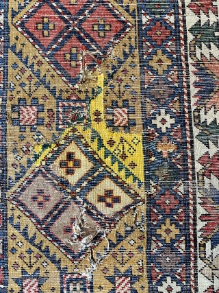 Antique shirvan good old one ca 1880 or bit  earlier. Nice purple and camel hair in pile all wool foundation unusual size 222 x 110 cm just washed.      ...