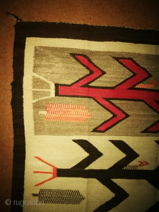 Antique Navajo tapestry. Condition is normal The yellow culer is littel bleeding Size is. 3/4 feet