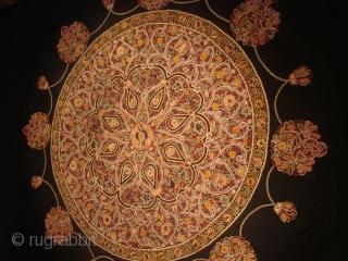 Persian embroidery. Fragment. Diameter 130cm. 19th Century.