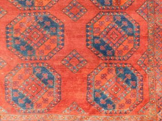 Lot 437. Auction 30. May 2020.    Ersari main carpet. Turkmenistan. Antique, mid-19th century. 278 cm x 228 cm. Knotted by hand. Wool on wool. Natural colors. Tribal rug of the Turkmen. www.homm.info