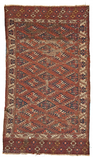 Lot 59, Yomut main carpet, starting bid € 2000, Auction October 14th 5pm, https://www.liveauctioneers.com/catalog/109605_fine-antique-oriental-rugs-viii/?count=all