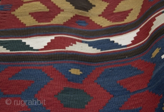 Antique Kazak Kilim with Ram's Horn motif, circa 1900. 155 x 203cm