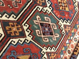 "Antique Karabagh rug with ""Memling"" Guls, Kalbajar district (Javanshir uyezd), Western Karabagh, Azerbaijan. c 1880-1890. Size: 140x235cm (4'7""x7'8""). Condition: full and original pile condition, center of the field has relatively lower pile.  ..."