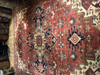 High quality serapi carpet in good condition. Very good color , drawing and weave. Had some old moth damage on the back but hardly affected the front at all. Some wear, and  ...