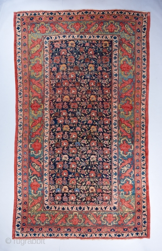 "A gorgeous allover design Bijar. An older one of its type, probably dating to circa 1870. 19 x 11'2"". 