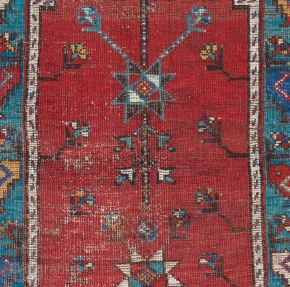 """Central Anatolian prayer rug. Mid 19th century or earlier. Great color. Needs a wash. 4'9"""" x 3'3"""".   Please visit our website for more collectible and decorative woven art: www.bbolour.com"""