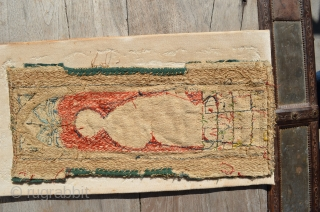 """Gothic or renaissance era """"English work"""" embroidery. Silk and metal thread on linen. 12"""" x 4 1/2""""."""