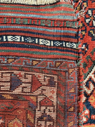 "Antique Southwest Persian Lori Qashqai tribal rug. Materials: hand knotted handspun wool pile on a wool foundation. 100% vegetable dyes. Size: 5'0"" x 7'9"" Age: c.1900-1920. Condition: Good antique condition overall with  ..."