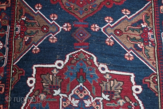 Wonderful Taspinar runer with mihrab design.  Nice indigo and red colors . End 19 century , size 380/92 CM  Maybe need to stretch it , not perfectly right .