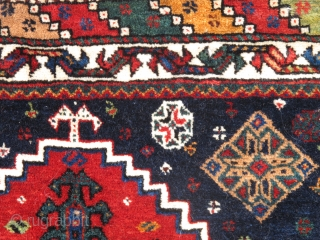 South Persian Tribal Luri bagface, Fantastic wool and super-saturated natural color, two greens. There is even some natural camel wool pile. Mounted and conserved.