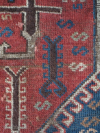 """East Anatolian Rug with Transylvanian Border. Great graphics, 3 medallions nicely drawn with an assortment of scorpions. Good colors with an unusual subdued palette. Condition is fair with scattered old """"repair"""" and  ..."""