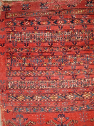 Middle Amu Darya Turkmen Ersari? Banded Chuval. Great color including a double dyed aubergine and classic nine band drawing with trees, carnations, animal heads, and a possible dated inscription.