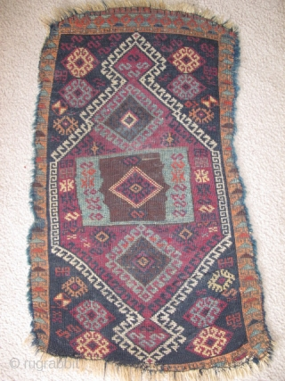 East Anatolian Kurdish yastik, beautiful shimmering unlined center, 3 blues and a lighter blue weft than most of this type. Complex use of abrash. A very authentic antique village piece with good  ...