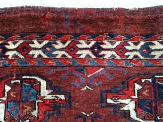 Yomut Turkmen Chuval, great vibrant natural color including some silk highlights in the centers of the bottom guls. Relatively complete with some damage/restoration to the sides. Nice spacing and handle. A vibrant  ...