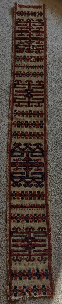 "Tekke Turkmen tent band fragment. Nice narrow one, 8.5""x75""."