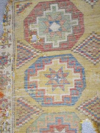 """Konya Memling Gul Rug, fragmented at top. Memling guls measure about 13"""" square with some variations. Fantastic vibrant color including aubergine, apricot and modeled greens. Very probably 18th century, size is apx.  ..."""