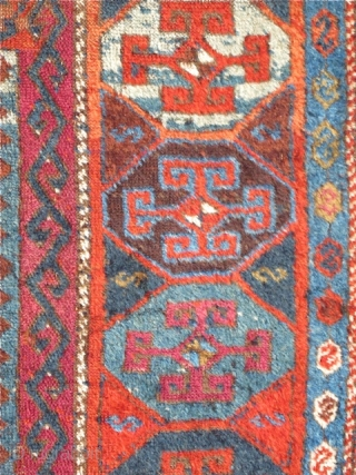 "East Anatolian Kurd Rug, fantastic wool, saturated color. orange wefted, condition issues, good scale, recently washed and gleaming. 7'3""x4'5"""