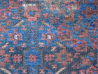 Classic Timuri type Baluch Prayer Rug, excellently and finely drawn with trees and shrubs on a blue ground. Worn, especially at the top, with corrosion as well, a great sumak bottom portion,  ...