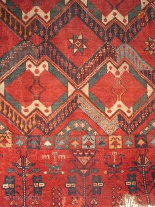 Middle Amu Darya Turkmen aq qaymaq ikat pattern chuval. Fantastic color and precision drawing.