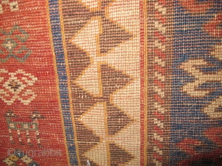 """Squarish-shaped Kazak, authentic un-repaired condition. Good age, needs some love. size is 6'3"""" x 5'9"""""""