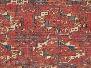 Six Gul Tekke Torba, a great honest earlier example with velvety pile, great wool quality, and color. Obvious condition issues.