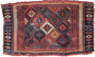 """colorful fluffy Jaf Kurd bagface. Super soft wool, borders cut top and bottom. Nice thing. 23""""x 38"""" /"""