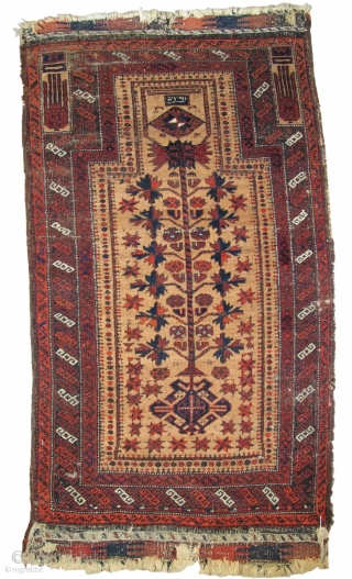 "Crisply drawn Camel Ground Baluch Prayer Rug with elongated stylized hands, depressed warp Khorosan type. Dated Baluch prayer rug, a piece from Basha's Baluch Collection. 2'7""x4'7"""