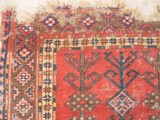 Truly Tribal, Authentically Antique Kirghiz Main Carpet. Three compartments of eshik-tish staffs. single wefted, all natural colors including madder red, insect / cochineal magenta used sparingly as highlights, several blues, including the  ...