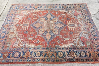 Happy 2020,  238 x 176cm / 7'8 x 5'7 Fresh Arrival: Fine Antique Heriz, areas with some ware, lovely rare size. $ 1125 plus $90 shipping