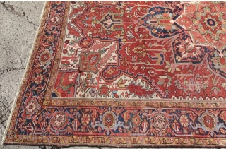 Antique Heriz, Used Pile areas and moth spots. 332 x 241cm or US: 10'8 x 7'9, $ 1415 + ship $ 99