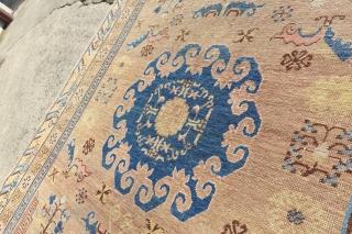 Antique Khotan, Flat Pile, shown lowest spots, cool size and design.