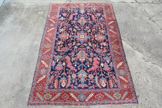 Antique lovely size 177cm x 279cm or 5'8 x 9'1 , lovely pile, one shown small quarter sized moth spot on the front and several mini spots on the backside. Very nice  ...