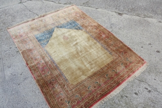 122 x 162cm, Antique great pile all silk Hadjalili Tabriz, was hanging, perfectly soft and piled, enjoy. Located in Zurich, Switzerland