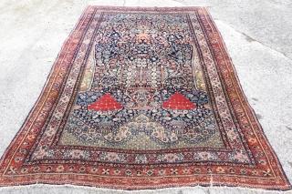 Antique unique Farahan prayer rug made of the softest kork wool, 143cm x 200cm, $ 2500