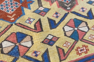 Antique Yellow Shirvan, large but reduced in length, 140cm x 282cm.