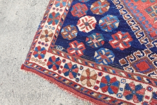 Antique playful Afshari rug, all wool, all vegetable colors, original endings and selvages, lovely happy maker, $ 900 shipped. enjoy, 107cm x 136cm