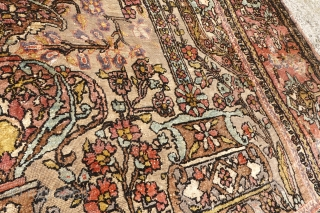 Antique silk Farahan or Kashan. Glued on a textile by previous owner. cracks. 1k shipped