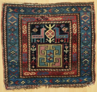 A Shasavan pile bag of exquisite beauty and rarity. Done with Karabagh or Ararat cochenille as most of the early Shasavan textiles, in quite good condition; some small repairs. mid to early  ...
