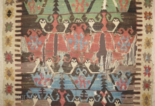 Small carnation kilim (formally called mother goddess), imo around 1800, wonderful old colors, mounted, rare