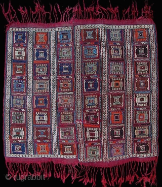 """Small verneh (36"""" x 37""""  =  92cm x 94cm), woven in two columns and sewn up the middle. Quite good condition, though small repairs as shown, and part of the  ..."""