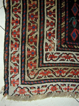 """KURD long rug/runner, Jaff or Sanjabi.  128"""" x 44"""" (325cm x 110cm).  two pairs of human figures.  Good colors, all natural. The field is virtually all offset knotting.   ..."""