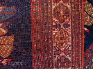 """Afshar,  59"""" x 48"""" (150cm x 122cm).  Strong natural colors, though not quite so bright as the direct sunlight makes them appear in some of the images. Good condition, except  ..."""