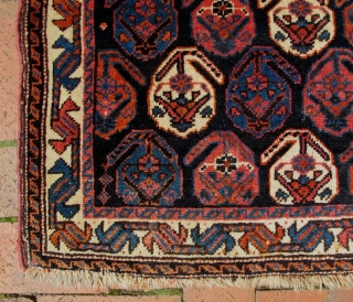 """Afshar khorjin face. 26"""" x 30"""" (66cm x 77cm)--fairly large for Afshar khorjin. Good pile, excellent condition.  Nice weft substitution details in the closure panels and top edge."""