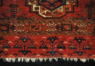 Turkmen Chuval Face; I call it Saryk.  Lots of magenta silk, some insect dyed wool, no cotton. Knot is asymmetric open right except for up to 10 or 12 columns of  ...