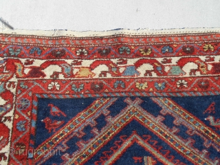 46x77inch Semi Antique Nice Kurd 3.10X6.5ft Very good condition Good overall pile Nice colors and well drawn